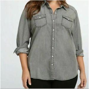Torrid Gray Denim Button Up Long Sleeve Shirt Sz 1